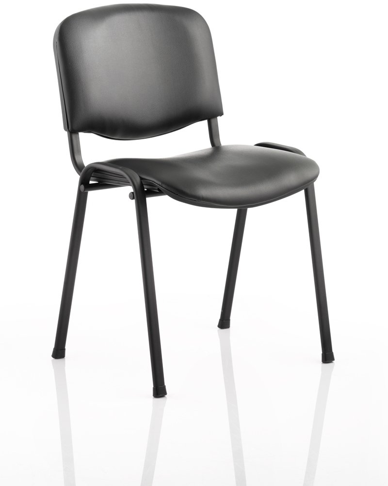 dynamic iso black frame stacking conference chair vinyl finish with