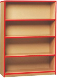 Coloured Edge Open Bookcase With 1 Fixed and 2 Adjustable Shelves