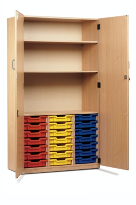 Classic Tray Storage Cupboard 2 Shelves, 21 Shallow Trays, Full Locking Doors