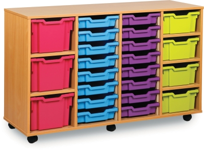 Classic Tray Storage Unit 16 Shallow 4 Deep and 3 Extra Deep Tray Units Without Doors