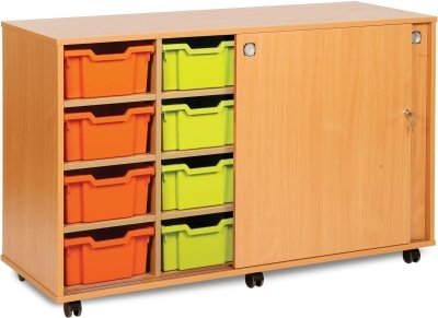 Classic Tray Storage Unit 8 Deep and 6 Extra Deep Tray Units With Sliding Doors