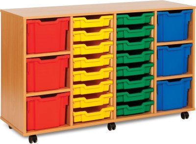 Classic Tray Storage Unit 16 Shallow and 6 Extra Deep Tray Units Without Doors