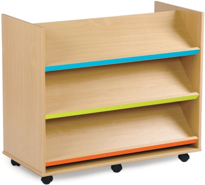 Library Unit with 3 Coloured Angled Shelves Each Side