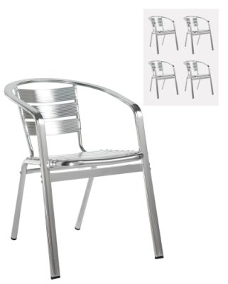 Dams Aluminium Outdoor Stackable Chairs With Arms (Box of 4)